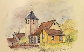 Картинка пейзаж, дом, рисунок, башня, акварель
