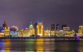 Картинка Ночь, Небоскребы, Китай, Шанхай, Город