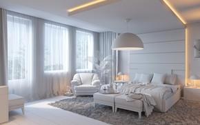 Картинка дизайн, комната, кровать, окно, спальня