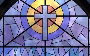 Картинка крест, текстура, окно, витраж, цветные стекла, фрагмент остекления