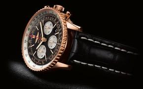 Картинка время, стрелки, часы, фон black, watch, Breitling, Navitimer, хронометр, chronometre