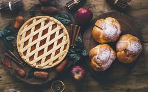 Обои apples, выпечка, пирог, яблоки, корица