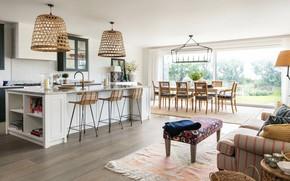 Картинка интерьер, кухня, гостиная, столовая, Modern Beach House, by Lisette Voute Designs