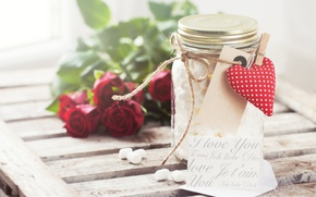 Картинка розы, сердечки, красные, сердечко, romantic, valentine's day, баночка, маршмеллоу, Valeria Aksakova