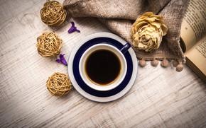 Картинка кофе, завтрак, книга, wood, Натюрморт