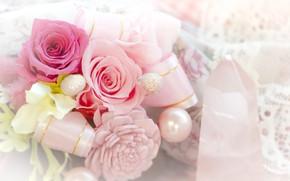 Картинка цветы, розы, Букет, бусы