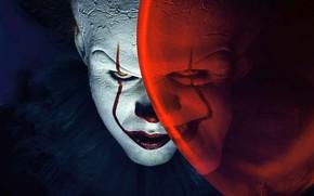 Обои взгляд, клоун, оно, грим, улыбка, актер, шарик, фильм, Билл, Скарсгорд, ужасы