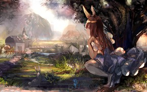 Картинка девушка, природа, аниме, кролик, ушки, tagme (artist)