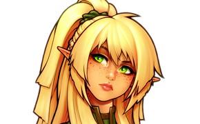 Картинка глаза, взгляд, лицо, красота, арт, блондинка, уши