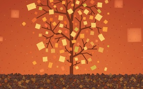 Обои деревр, листья, краски, прямоугольник