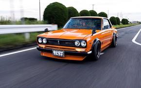 Картинка Авто, Машина, Оранжевый, Ниссан, Движение, Nissan, Автомобиль, 2000, Skyline, Nissan Skyline, 1972, 2000GT, Японец, 2000GT-R, …