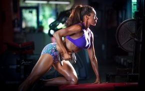 Картинка pose, female, workout, Dumbell