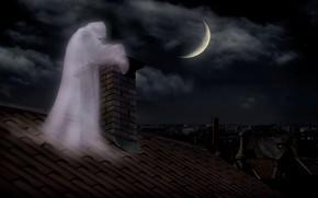 Картинка ночь, труба, призрак, ghost, кирпичная, лунное затмение, на крыше, привидение, во тьме, потустороннее