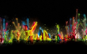 Обои капли, всплески, отражения, черный фон, радужные цвета, краски, рендеринг