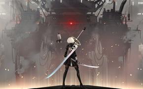Обои Glory to mankind, боевой робот, катана, лезвие, супер-оружие, крутая, искры, туман, yorha 2b, nier automata, ...