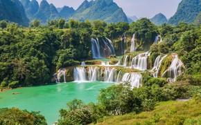 Картинка пейзаж, река, скалы, водопад, summer, river, landscape, beautiful, waterfall, tropical