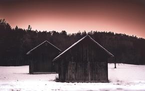 Картинка зима, ночь, дом