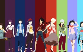 Картинка kawaii, anime, manga, cast, bishojo, Bakemonogatari, Monogatari, japonese