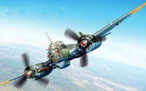 Картинка рисунок, Junkers, люфтваффе, многоцелевой самолёт, Ju 88A-5