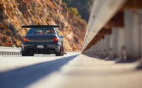 Обои тюнинг, IX MR, Lancer, вид сзади, Mitsubishi, Evo, мост, Evolution