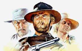 Обои cinema, film, 1965, revolver, weapon, Clint Eastwood, hat, movie, Lee Van Cleef, gun, wester, На ...