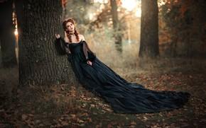 Картинка осень, лес, девушка, деревья, стиль, настроение, платье, Ольга Бойко
