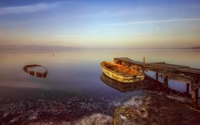 Картинка море, закат, лодка, причал