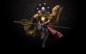 Картинка магия, игра, арт, монах, посох, Monk, hu zheng