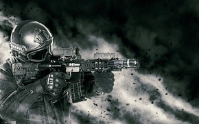 Картинка soldier, elite, armament, helmet, assault rifle, equipment, powder