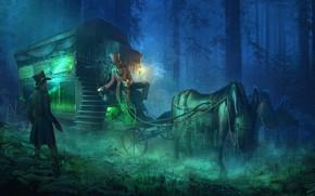 Картинка лес, карета, hearse, The Bus Conductor