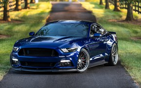 Картинка Mustang, Ford, Blue, 5.0, LED lights