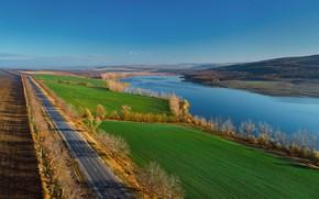 Картинка дорога, осень, озеро, Молдова
