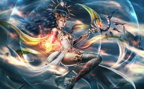Обои грудь, девушка, фантастика, магия, ноги, волосы, арт, маг, посох, lana solaris