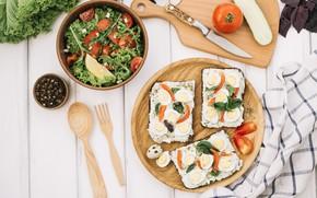 Картинка еда, овощи, помидоры, салат, бутерброды, разделочная доска, базилик