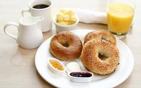 Картинка кофе, завтрак, сок, джем, бейгл