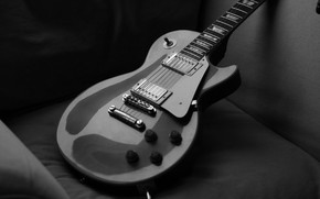 Обои gibson, струны, гитара, black & white, les paul, guitar, черно-белое