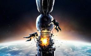 Обои постер, космонавты, взрыв, фильм, космическая станция, Салют-7, космос, огонь, двое, звёзды, авария, планета, скафандры, Земля, ...
