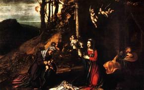 Картинка Huile sur Bois, 1512, Corrège Nativité Crespi