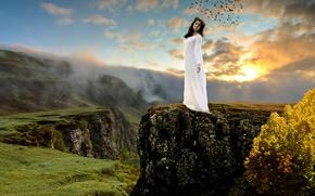 Картинка девушка, пейзаж, горы, птицы, природа, настроение