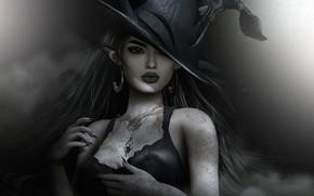 Картинка девушка, лицо, стиль, шляпа, макияж, хэллоуин
