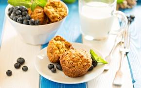 Картинка ягоды, завтрак, молоко, черника, кексы