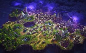 Картинка гроза, деревья, город, озеро, молния, ветряк, кристалы, каменоломня, Fortnite