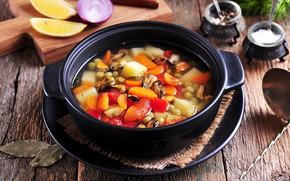 Картинка лимон, суп, овощи, специи