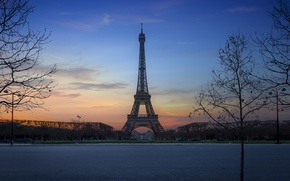 Обои деревья, закат, Франция, Париж, Эйфелева Башня, Paris, France, Eiffel Tower