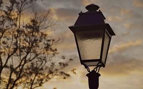 Картинка закат, улица, париж, вечер, фонарь, франция