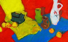 Картинка яблоки, 2008, чайник, натюрморт, вазы, кувшины, Петяев