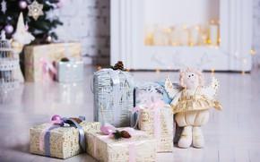 Картинка украшения, комната, игрушки, елка, Новый Год, Рождество, подарки, white, Christmas, design, wood, Merry Christmas, Xmas, …