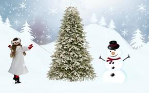 Картинка Boże Narodzenie, dziewczynka, bałwan