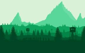 Картинка Горы, Игра, Лес, Вид, Люди, Холмы, Пейзаж, Силуэты, Campo Santo, Firewatch, Вышки, Пожарный дозор