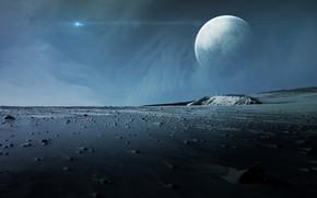 Обои stones, moon, planet, sci fi